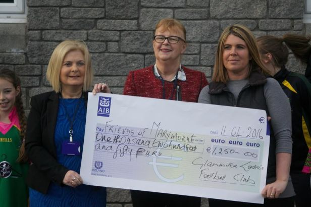 Presentation to Friends of Marymount of €1250 from Glanmire Ladies Football Club