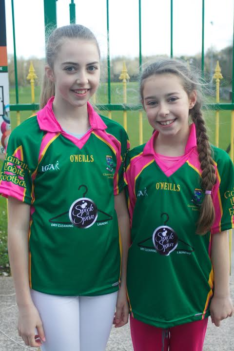 Erin and Lauren showing off glanmires new jersey's Sponsered by spick and span, our local laundrette