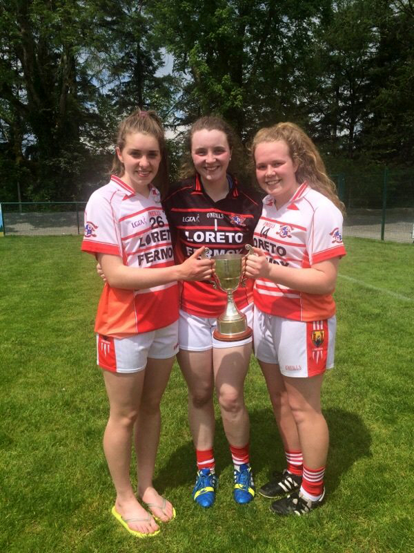 : Post Primary Schools Loreto Senior A County Champions Grace Culloty, Madison Parle & Katie Quirke