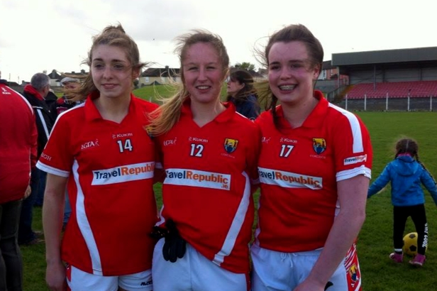 Photo: Cork Footballers Grace Culloty (Bride Rovers) Abbie Scannell (Fermoy) Laura Quirke (Bride Rovers)