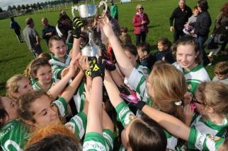Aghada U 12 Girls Celebrate winning the C county title